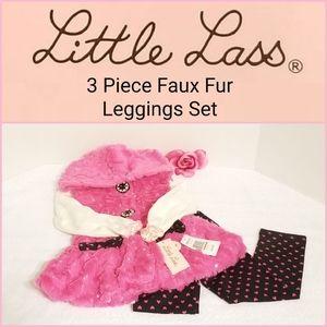 🆕️ Little Lass 3 Piece Faux Fur Leggings Set 2T